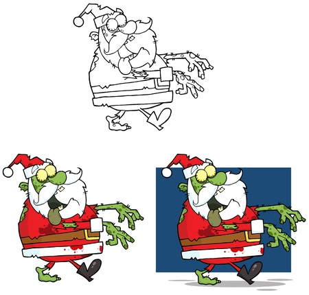 Santa Zombie Cartoon Mascot Characters- Collection Vector