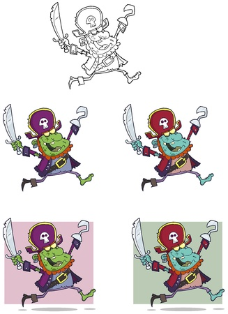Pirate Zombie Cartoon Mascot Characters-Collection Vector