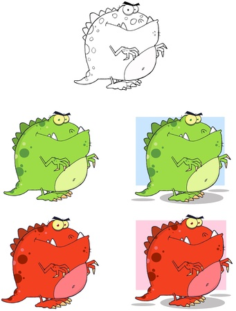 Dinosaur Mascot Cartoon Characters Collection-