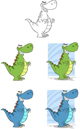 Dinosaur Cartoon Mascot Characters- Collection Vector