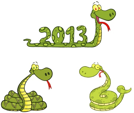 Snakes Cartoon Mascot Characters- Collection Stock Vector - 17726542