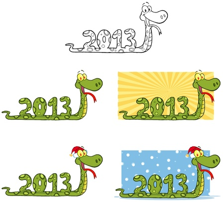 Funny Snake Cartoon Mascot Characters-Collection Vector