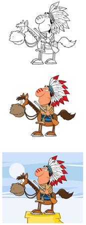 chieftain: Capo indiano con la pistola della mascotte del fumetto Personaggi-Collection Vettoriali