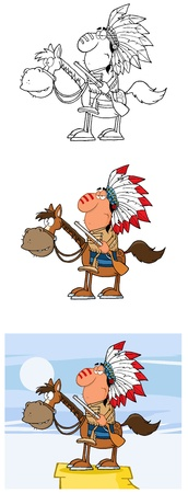 Indian Chief With Gun Cartoon Mascot Characters- Collection Vector