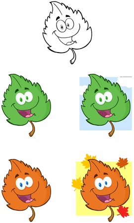 leaf vein: Green Leaf Cartoon Mascot Characters- Collection