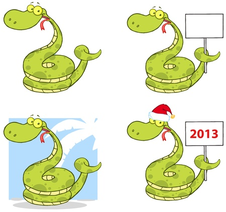 Snake Cartoon Mascot Characters- Collection Vector