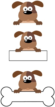 Dog Head Cartoon Mascot Characters-Collection Vector
