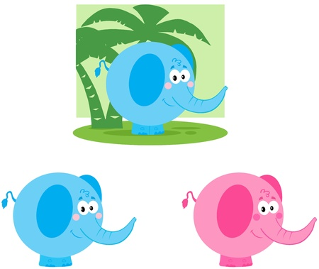 Elephant Cartoon Mascot Characters- Collection Stock Vector - 17726528