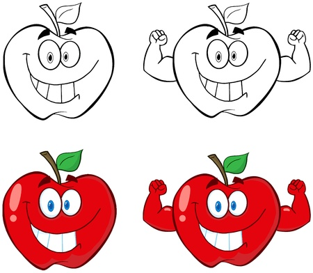stronger: Apple Cartoon Mascot Characters- Collection Illustration