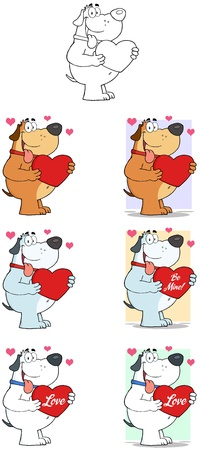 Dog Holding Valentine Heart- Collection Vector