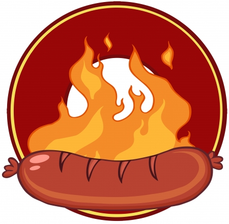 Grilled Sausage And Flames With Banner In Circle