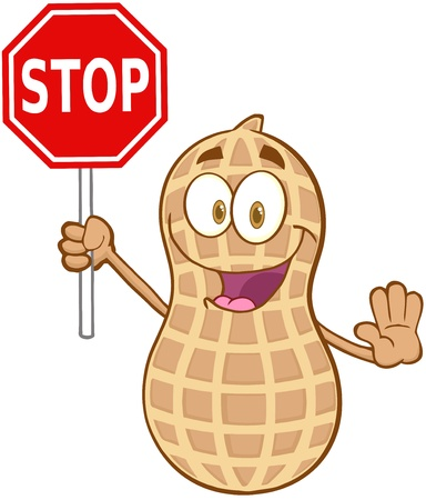 Peanut Cartoon Mascot Character Holding A Stop Sign