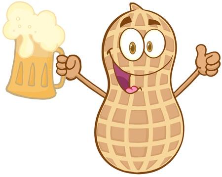 Peanut Cartoon Mascot Character Holding A Bear And Thumb Up Vector