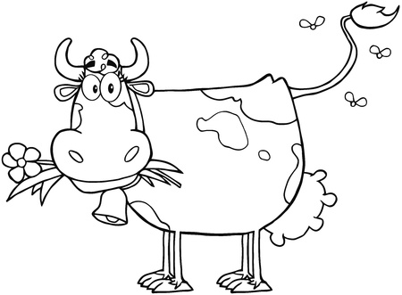 outlined: Outlined Dairy Cow With Flower In Mouth Illustration