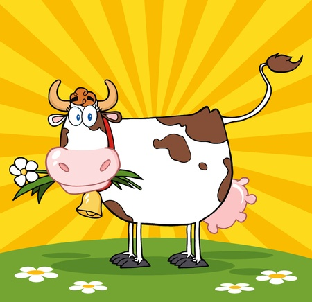 Cartoon Dairy Cow With Flower In Mouth On A Meadow