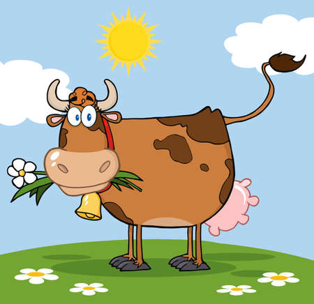dairy cow: Brown Dairy Cow With Flower In Mouth On A Meadow