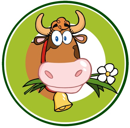 Dairy Cow Cartoon Logo Mascot Banner