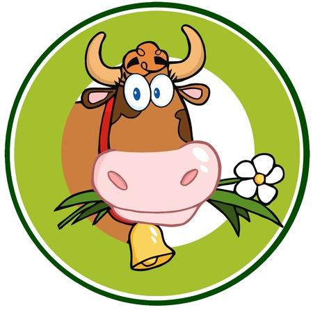 Vache à bande dessinée laitiers Mascot Logo Bannière Banque d'images - 17769502