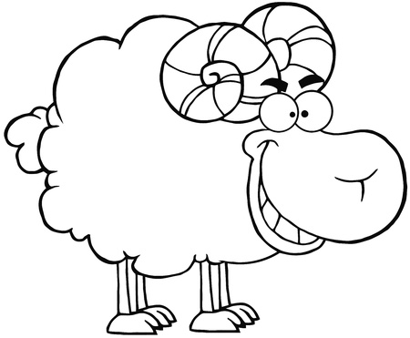 fleecy: Outlined Happy Ram Cartoon Mascot Character Illustration
