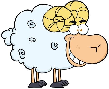 pasen schaap: Gelukkig Ram Cartoon Mascot Character Stock Illustratie