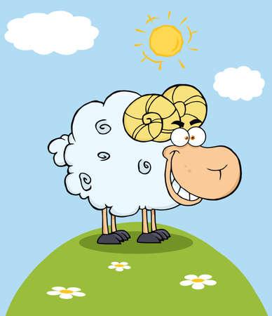 fleecy: Happy Ram Cartoon Mascot Character On A Hill Illustration