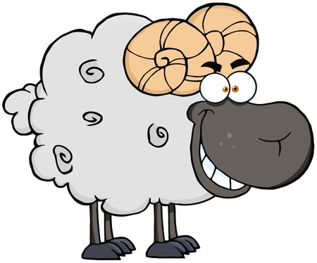 fleecy: Happy Black Ram Cartoon Mascot Character
