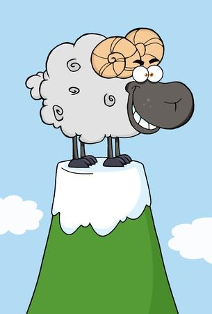 Happy Black  Ram Cartoon Mascot Character On Top Of A Mountain Peak Vector
