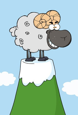 fleecy: Happy Black  Ram Cartoon Mascot Character On Top Of A Mountain Peak Illustration