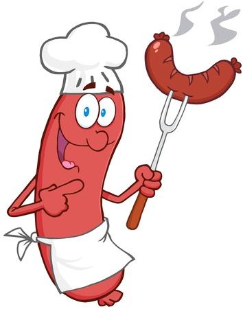chorizos asados: Happy Chef Salchicha de dibujos animados mascota personaje con salchicha en Tenedor