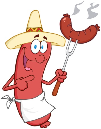 Happy Sausage With Mexican Hat And Sausage On Fork Vector