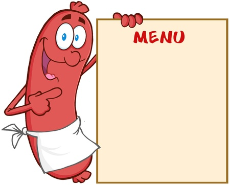 Happy Sausage Cartoon Mascot Character Showing Menu