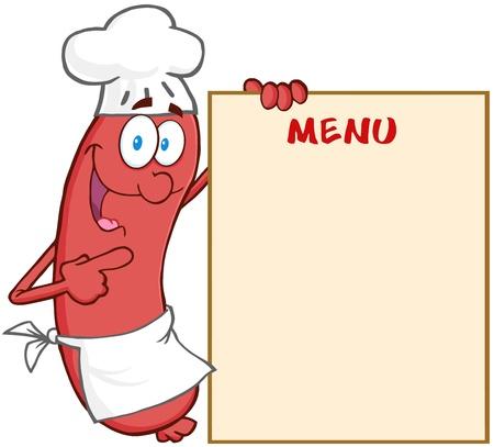 chorizos asados: Happy Chef Salchicha personaje de dibujos animados mascota Mostrando Menú