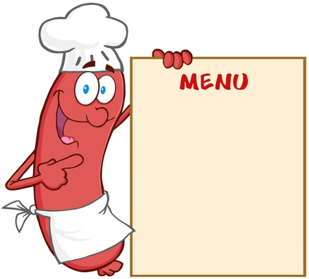 Happy Sausage Chef Cartoon Mascot Character Showing Menu Vector