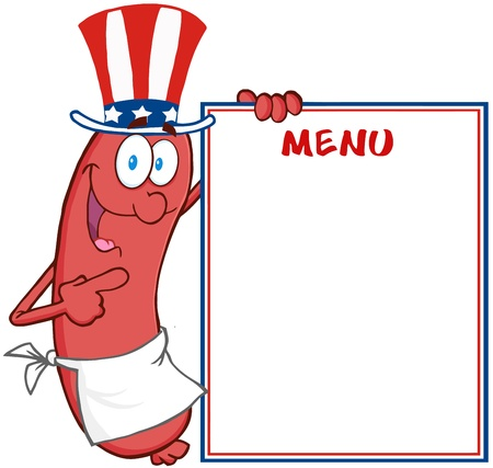 Happy Sausage With American Patriotic Hat Showing Menu Vector