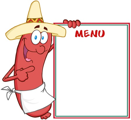 bratwurst: Happy Sausage With Mexican Hat Showing Menu Illustration