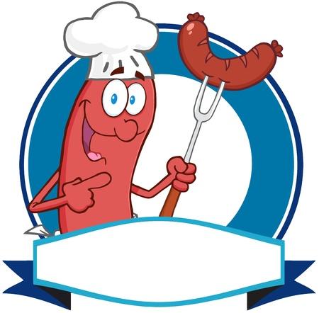 saucisse: Logo Mascotte Saucisse de dessin anim� Illustration