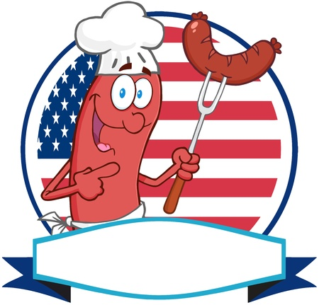 bratwurst: Sausage Cartoon Logo Over A Circle And Blank Banner In Front Of Flag Of USA Illustration