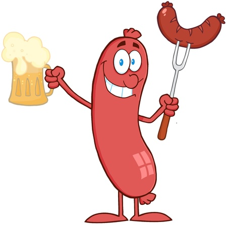 bratwurst: Cartoon Character Sausage Holding Beer And Sausage On A Fork