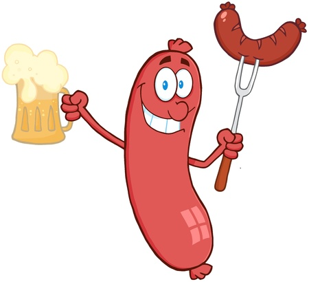 Cartoon Character Standing Sausage Holding Beer And Sausage On A Fork Vector