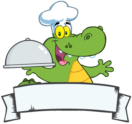 Happy Crocodile Chef Holding A Platter Over A Blank Banner Vector