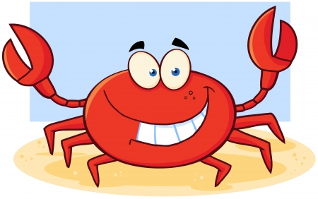 Happy Crab Cartoon Mascot Character Çizim