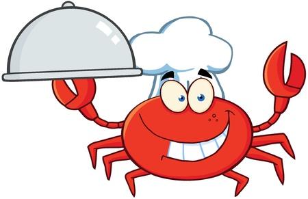Crab Chef Cartoon Mascot Karakter Holding Een Platter Stock Illustratie