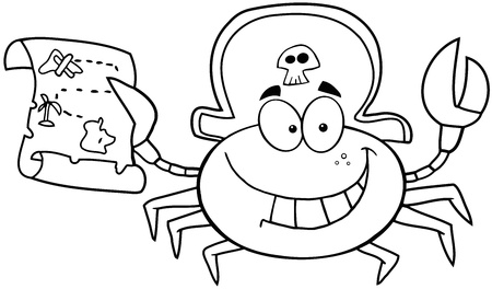 outlined isolated: Pirate Outlined Crab Sostiene Un mapa del tesoro