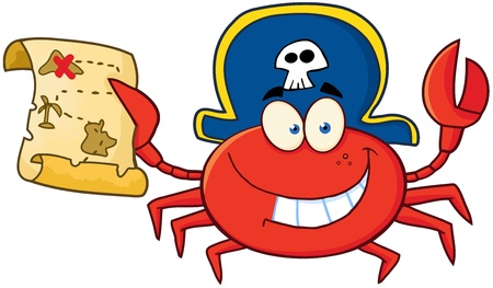 Pirate Crab Holding A Treasure Map Çizim