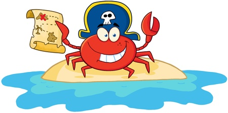 Pirate Crab Holding A Treasure Map On Island Иллюстрация