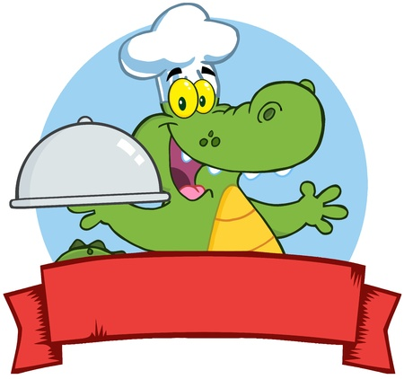 Crocodile Chef Holding A Platter Over A Blank Banner Vector