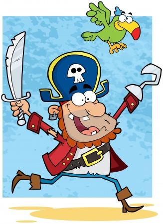 sailor hat: Running Pirate Holding Up A Sword And Hook With Parrot