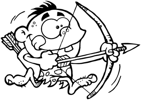 stoneage: Outlined Cave Boy Running With Bow And Arrow
