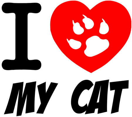 cat paw: I Love My Cat Red Heart With Text