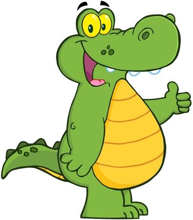 jacar�: Jacar� de sorriso Ou Crocodilo mostra os polegares acima